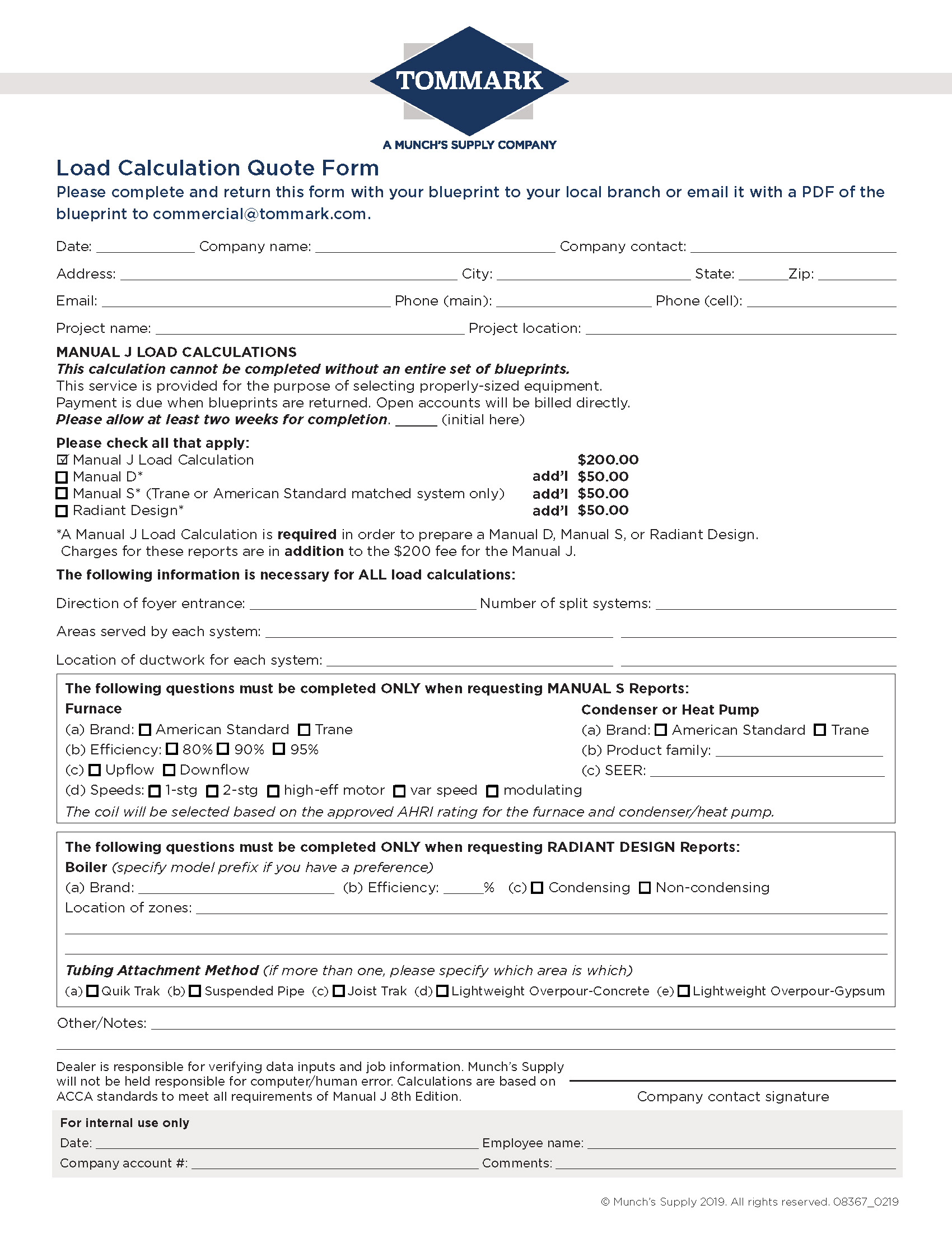 Load Calculation Quote Form-tommark-fill-in